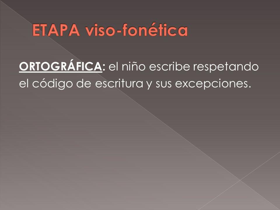 ETAPA viso-fonética ORTOGRÁFICA: el niño escribe respetando el código de escritura y sus excepciones.