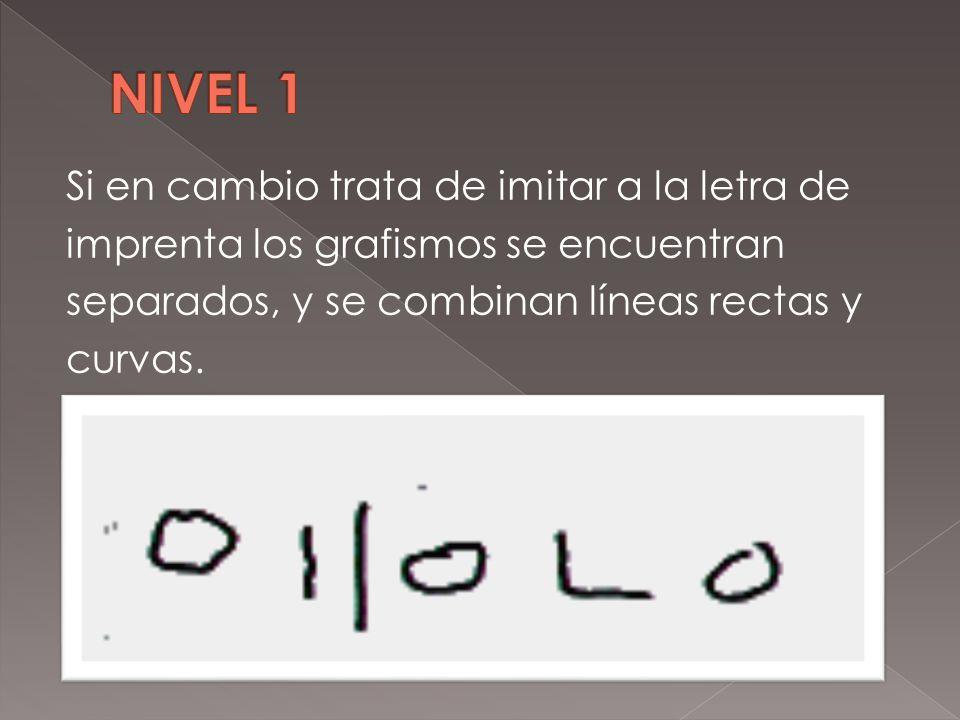 NIVEL 1 Si en cambio trata de imitar a la letra de imprenta los grafismos se encuentran separados, y se combinan líneas rectas y curvas.