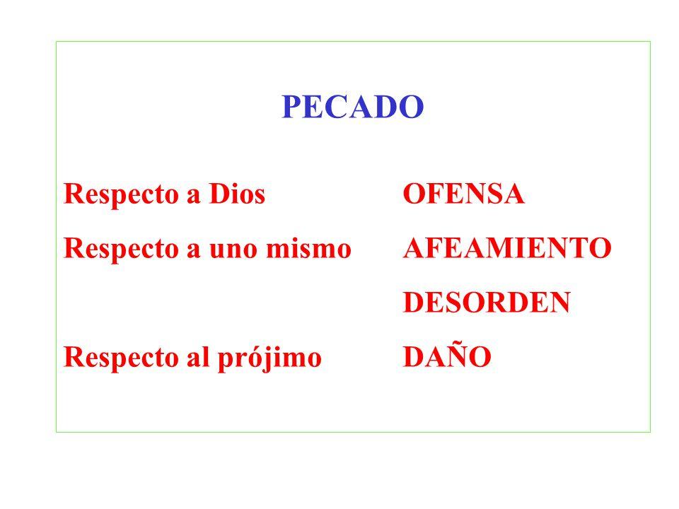 PECADO Respecto a Dios OFENSA Respecto a uno mismo AFEAMIENTO DESORDEN