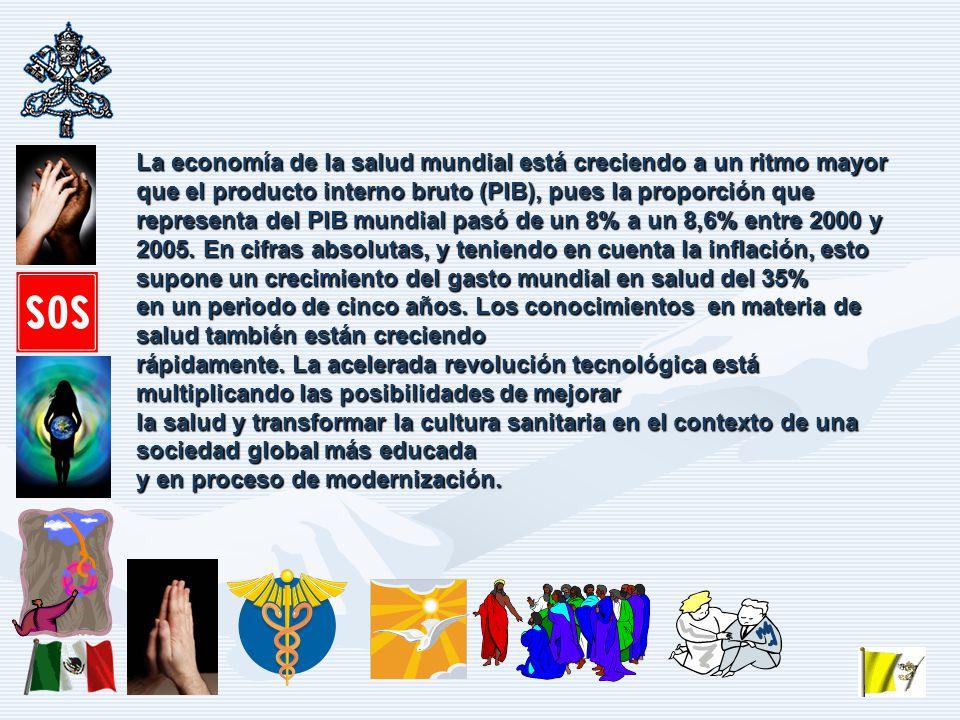 La economía de la salud mundial está creciendo a un ritmo mayor que el producto interno bruto (PIB), pues la proporción que representa del PIB mundial pasó de un 8% a un 8,6% entre 2000 y 2005.