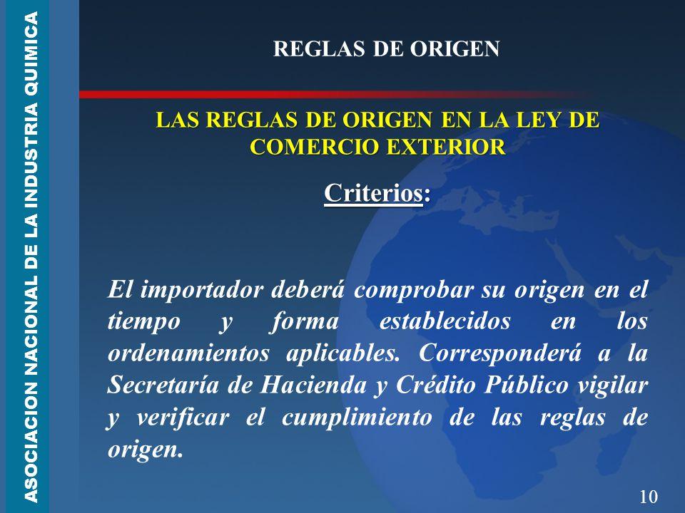 LAS REGLAS DE ORIGEN EN LA LEY DE COMERCIO EXTERIOR