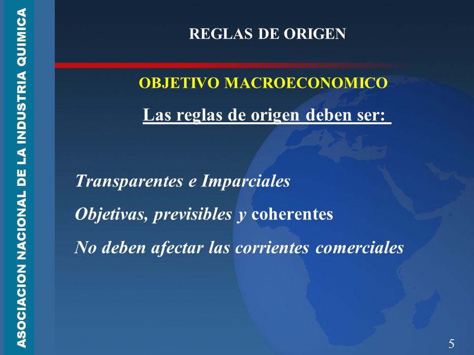 OBJETIVO MACROECONOMICO Las reglas de origen deben ser: