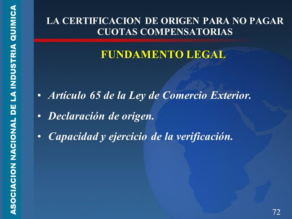 LA CERTIFICACION DE ORIGEN PARA NO PAGAR CUOTAS COMPENSATORIAS