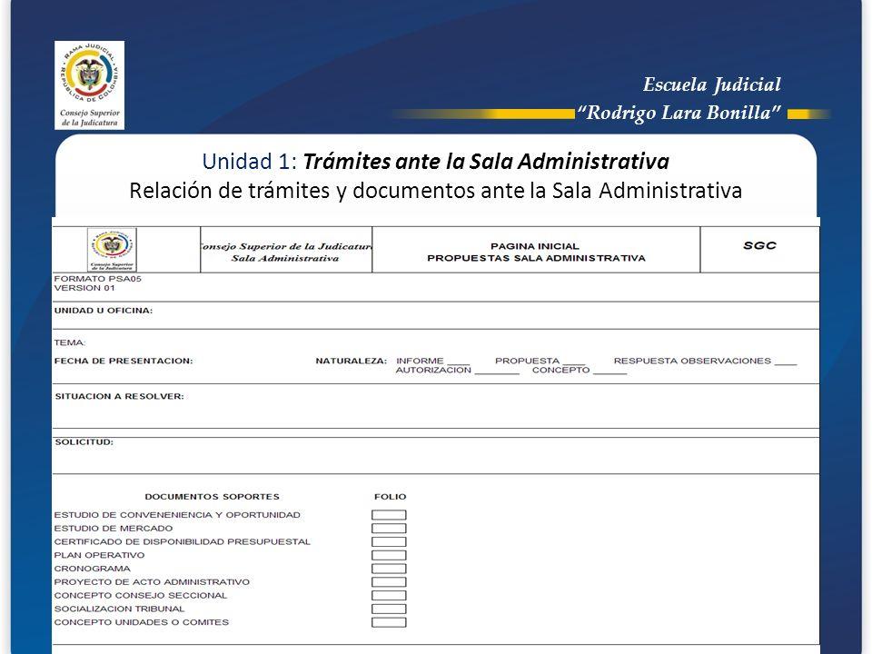 Escuela Judicial Rodrigo Lara Bonilla Unidad 1: Trámites ante la Sala Administrativa Relación de trámites y documentos ante la Sala Administrativa.