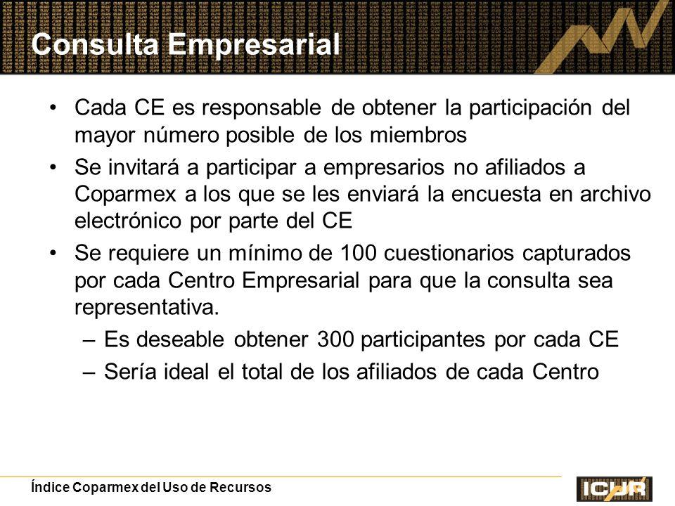 Consulta Empresarial Cada CE es responsable de obtener la participación del mayor número posible de los miembros.