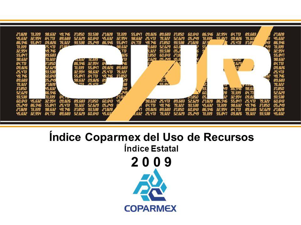 Índice Coparmex del Uso de Recursos Índice Estatal 2 0 0 9