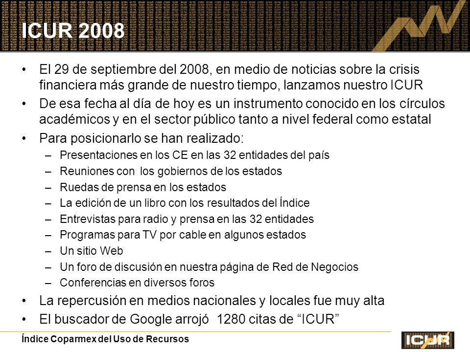 ICUR 2008 El 29 de septiembre del 2008, en medio de noticias sobre la crisis financiera más grande de nuestro tiempo, lanzamos nuestro ICUR.