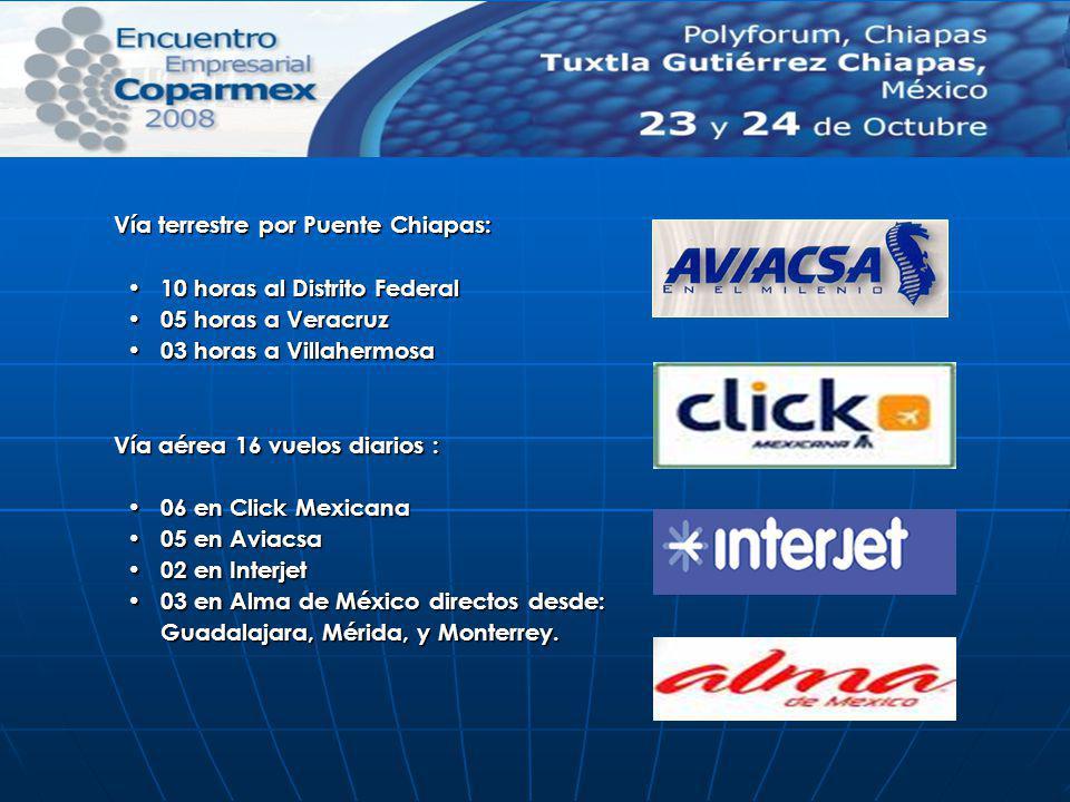 Vía terrestre por Puente Chiapas: