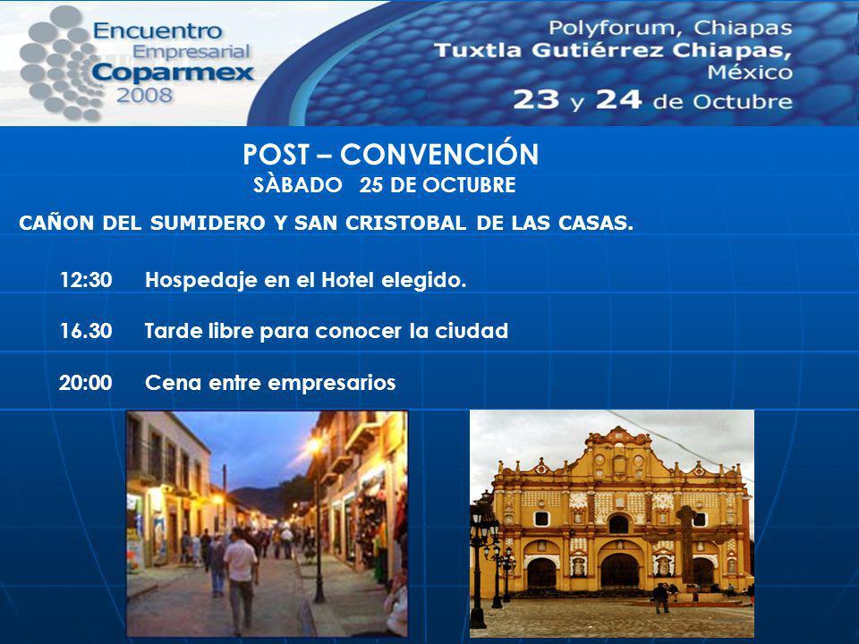 POST – CONVENCIÓN SÀBADO 25 DE OCTUBRE