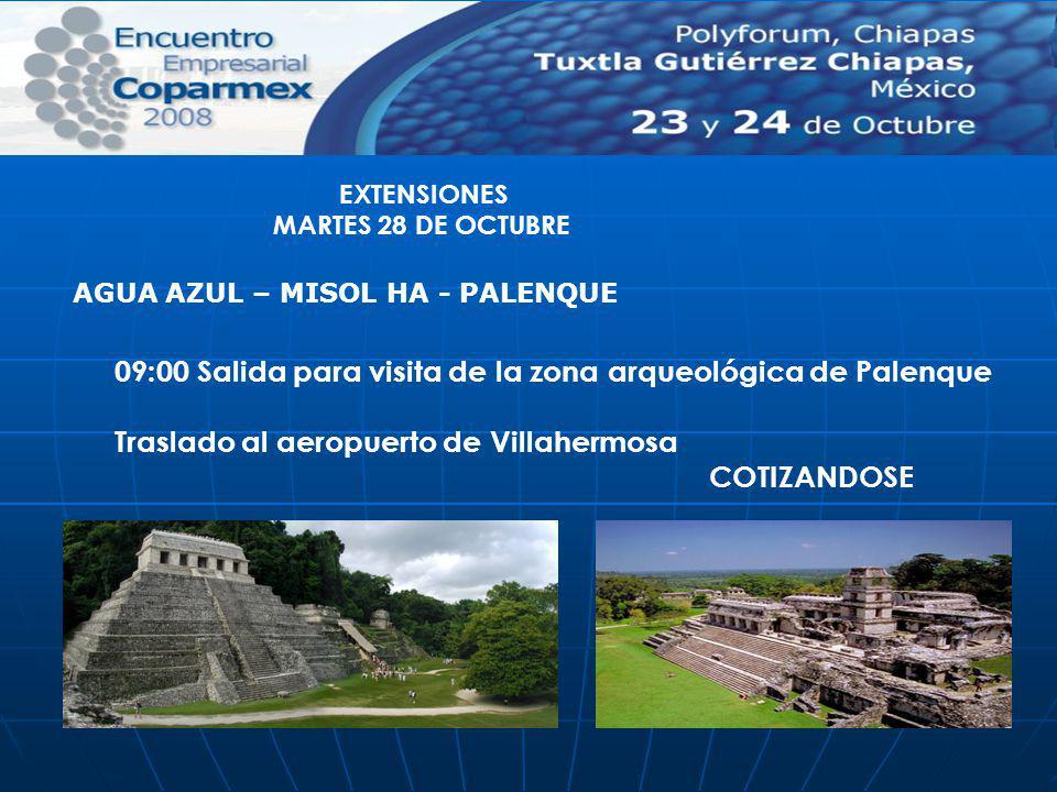 09:00 Salida para visita de la zona arqueológica de Palenque