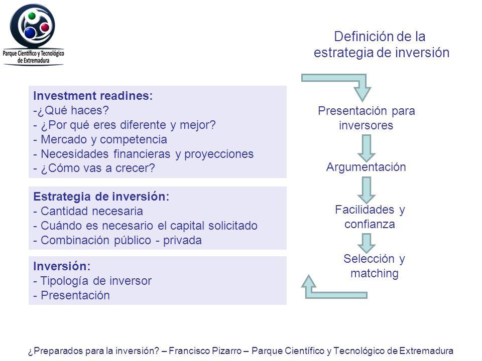 Definición de la estrategia de inversión