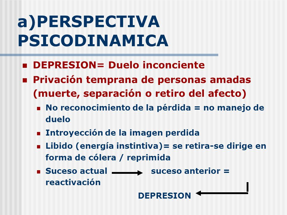 a)PERSPECTIVA PSICODINAMICA
