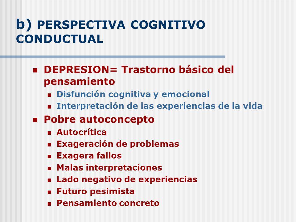b) PERSPECTIVA COGNITIVO CONDUCTUAL