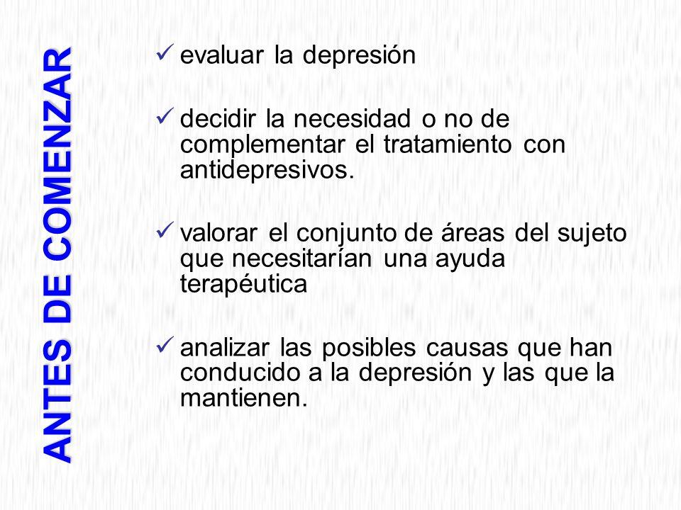 ANTES DE COMENZAR evaluar la depresión