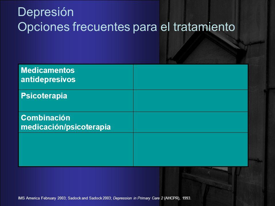 Depresión Opciones frecuentes para el tratamiento