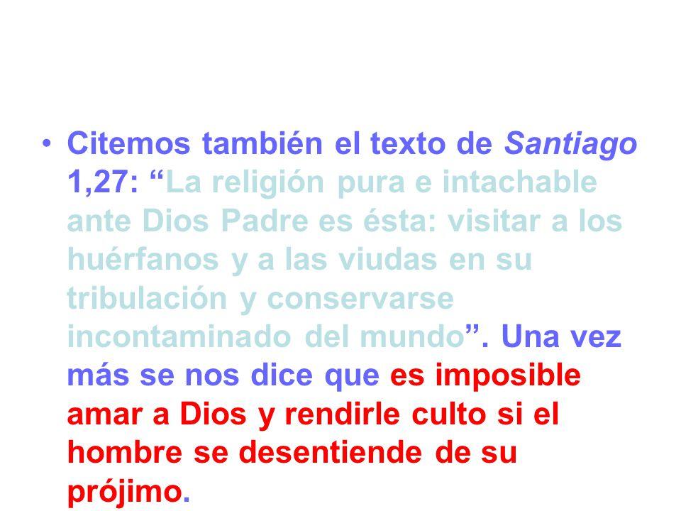 Citemos también el texto de Santiago 1,27: La religión pura e intachable ante Dios Padre es ésta: visitar a los huérfanos y a las viudas en su tribulación y conservarse incontaminado del mundo .