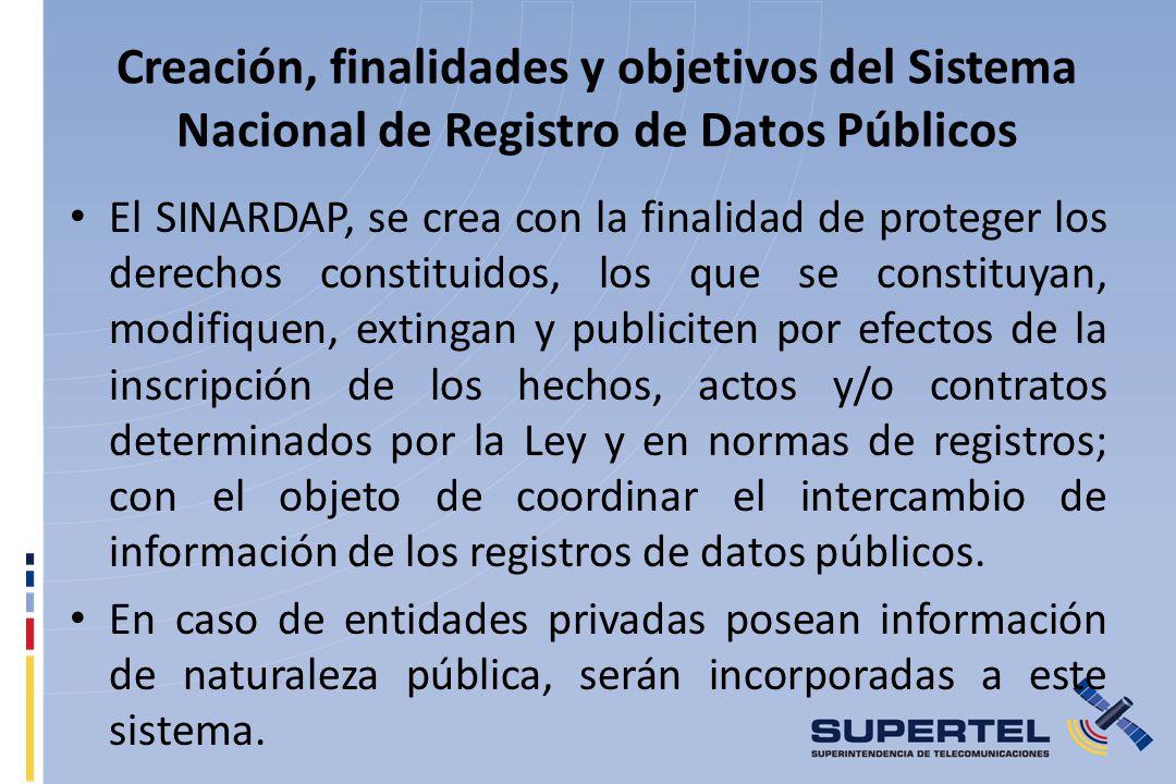Creación, finalidades y objetivos del Sistema Nacional de Registro de Datos Públicos
