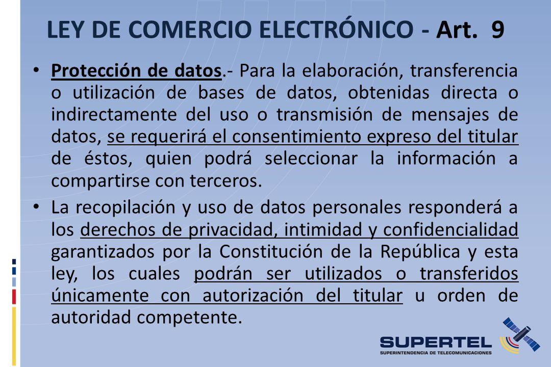 LEY DE COMERCIO ELECTRÓNICO - Art. 9