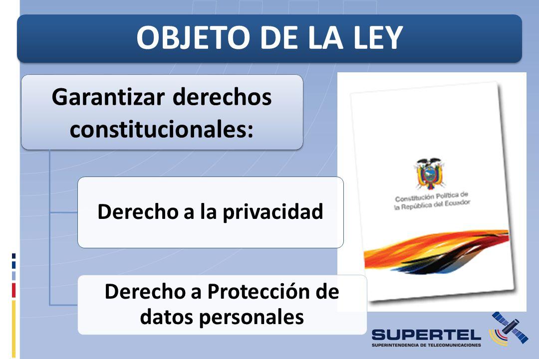 OBJETO DE LA LEY Garantizar derechos constitucionales:
