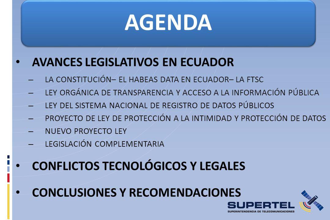 AGENDA AVANCES LEGISLATIVOS EN ECUADOR