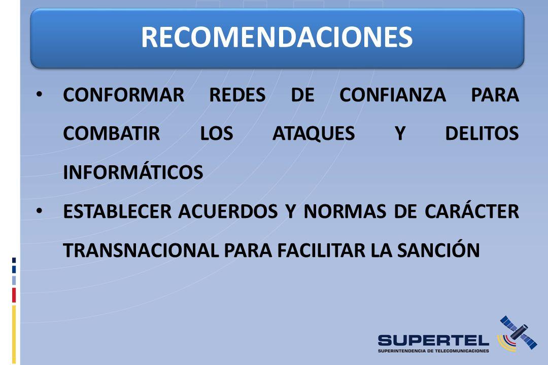 RECOMENDACIONES CONFORMAR REDES DE CONFIANZA PARA COMBATIR LOS ATAQUES Y DELITOS INFORMÁTICOS.