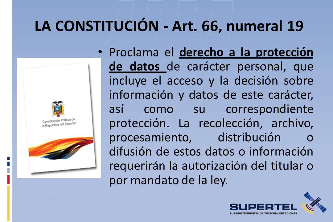 LA CONSTITUCIÓN - Art. 66, numeral 19