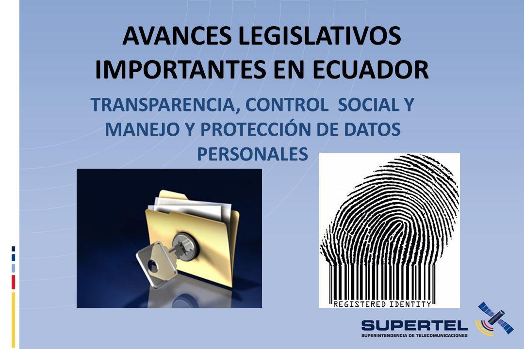 AVANCES LEGISLATIVOS IMPORTANTES EN ECUADOR