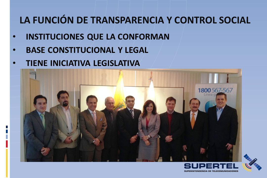 LA FUNCIÓN DE TRANSPARENCIA Y CONTROL SOCIAL