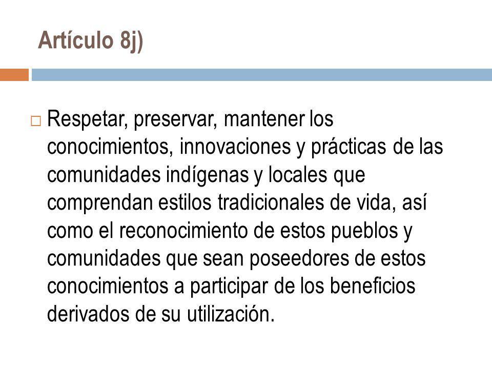 Artículo 8j)
