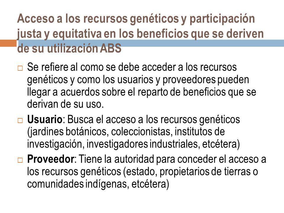 Acceso a los recursos genéticos y participación justa y equitativa en los beneficios que se deriven de su utilización ABS
