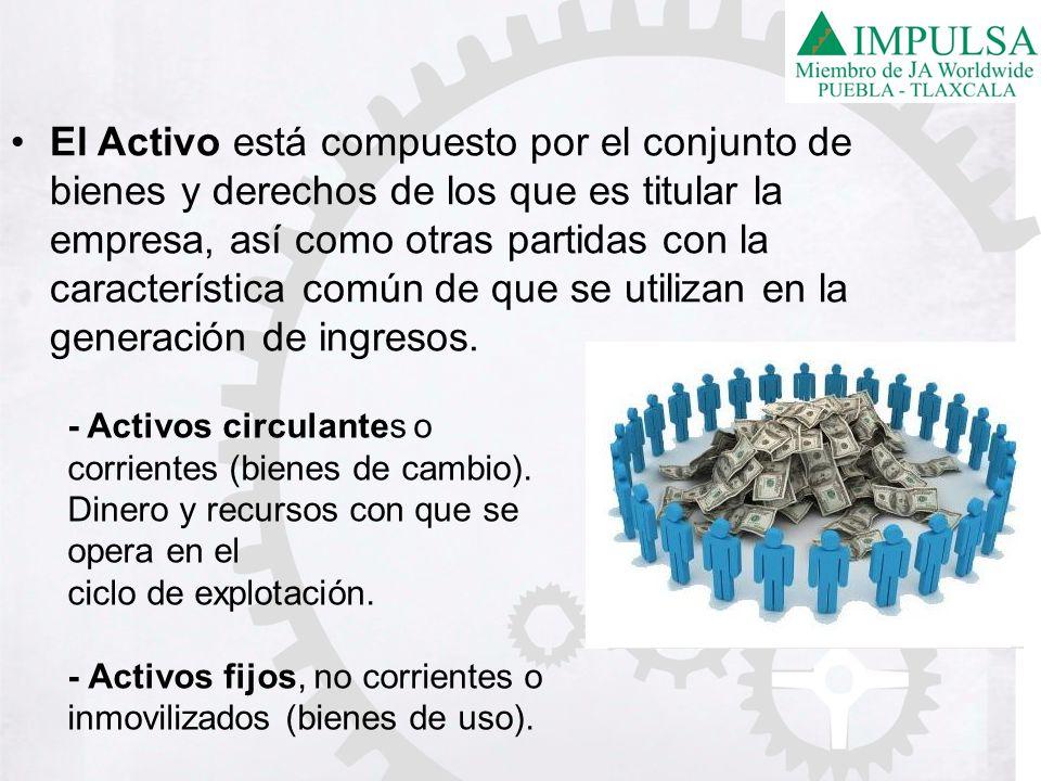 El Activo está compuesto por el conjunto de bienes y derechos de los que es titular la empresa, así como otras partidas con la característica común de que se utilizan en la generación de ingresos.