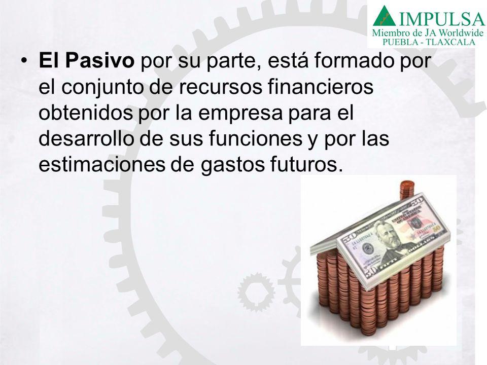 El Pasivo por su parte, está formado por el conjunto de recursos financieros obtenidos por la empresa para el desarrollo de sus funciones y por las estimaciones de gastos futuros.