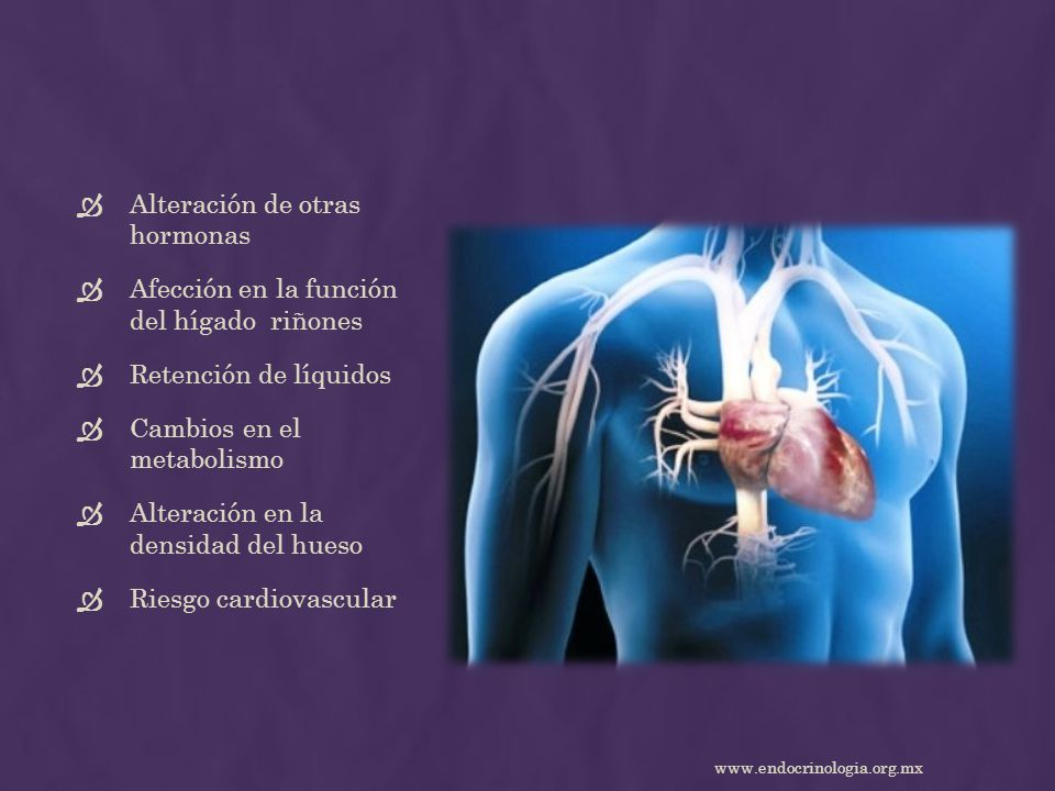Alteración de otras hormonas Afección en la función del hígado riñones