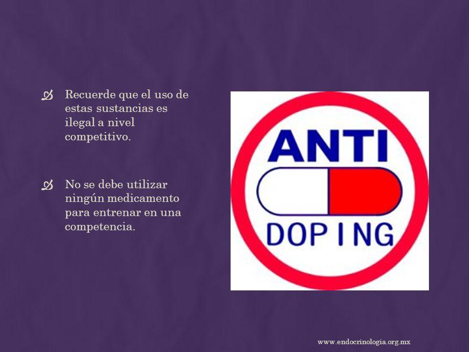 Recuerde que el uso de estas sustancias es ilegal a nivel competitivo.