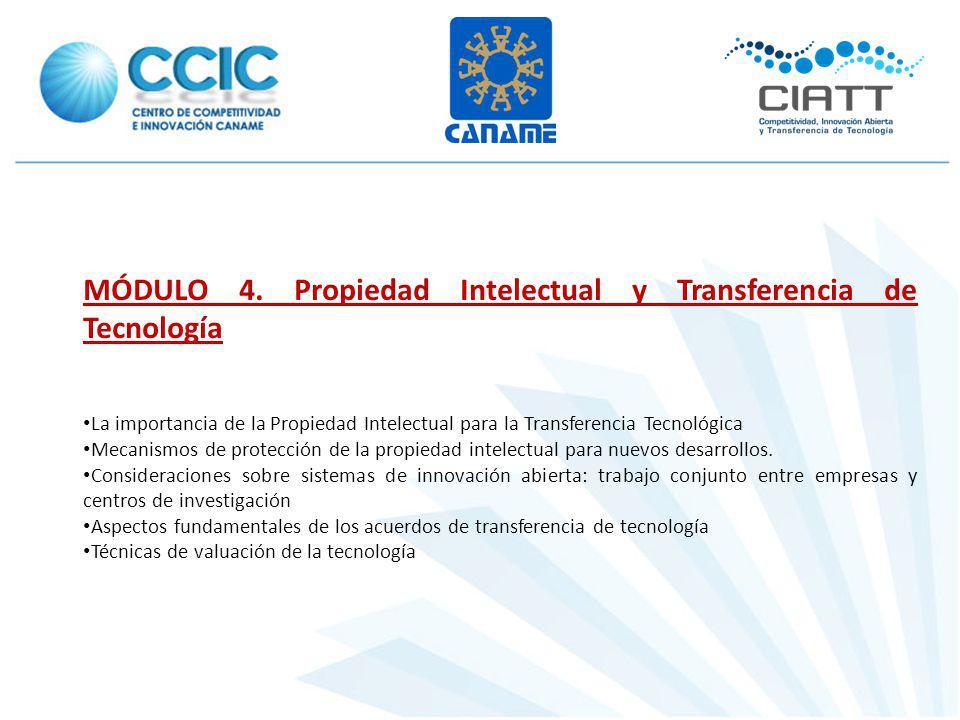 MÓDULO 4. Propiedad Intelectual y Transferencia de Tecnología