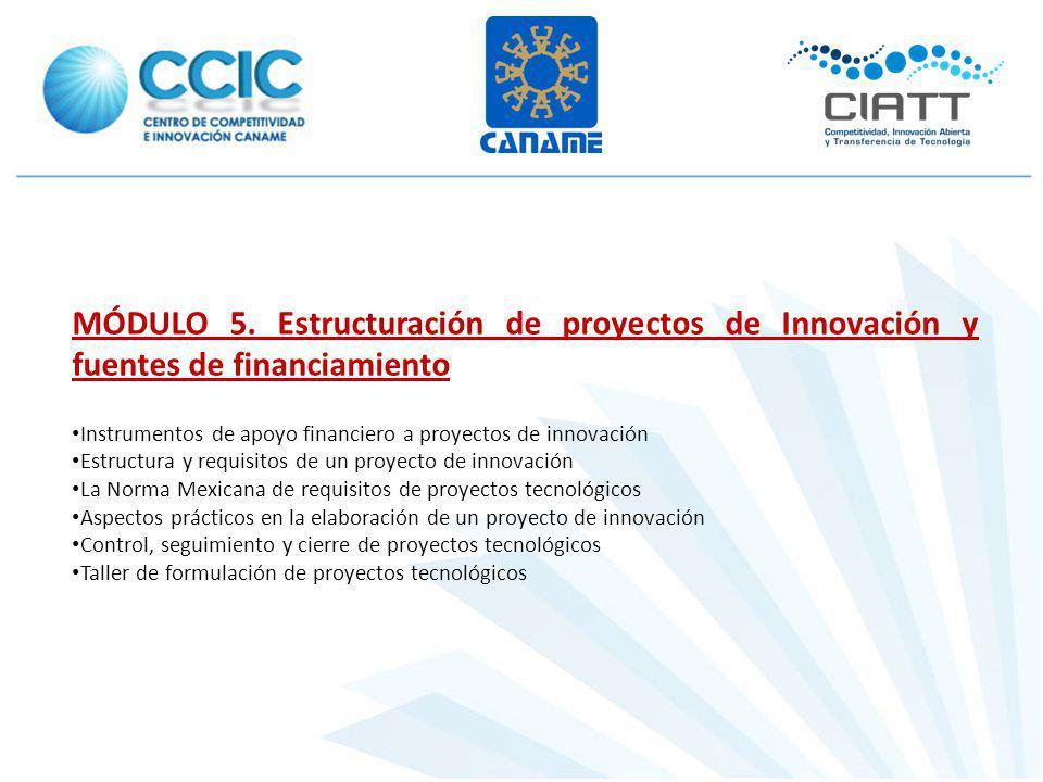 MÓDULO 5. Estructuración de proyectos de Innovación y fuentes de financiamiento