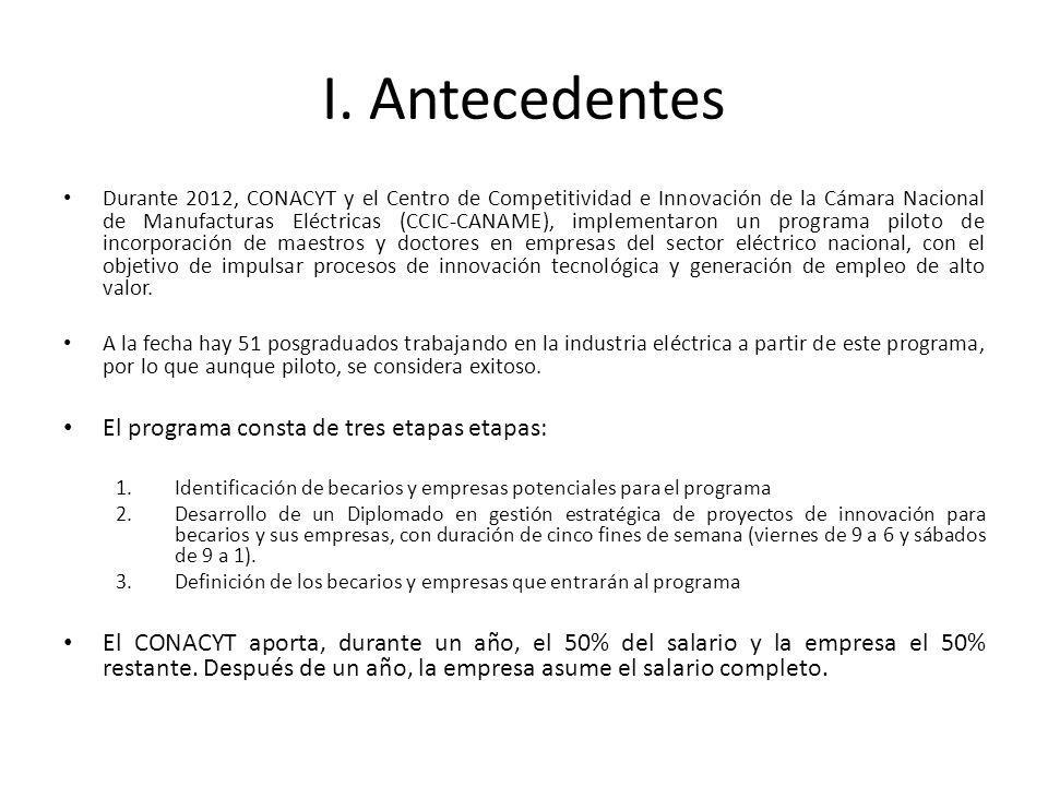 I. Antecedentes El programa consta de tres etapas etapas: