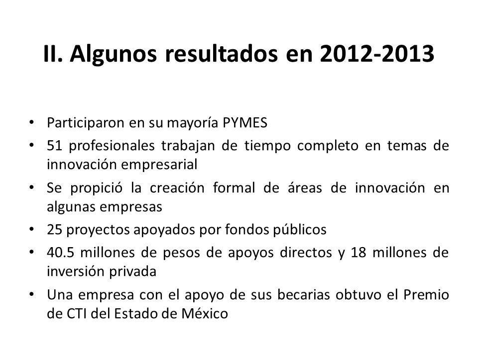 II. Algunos resultados en 2012-2013