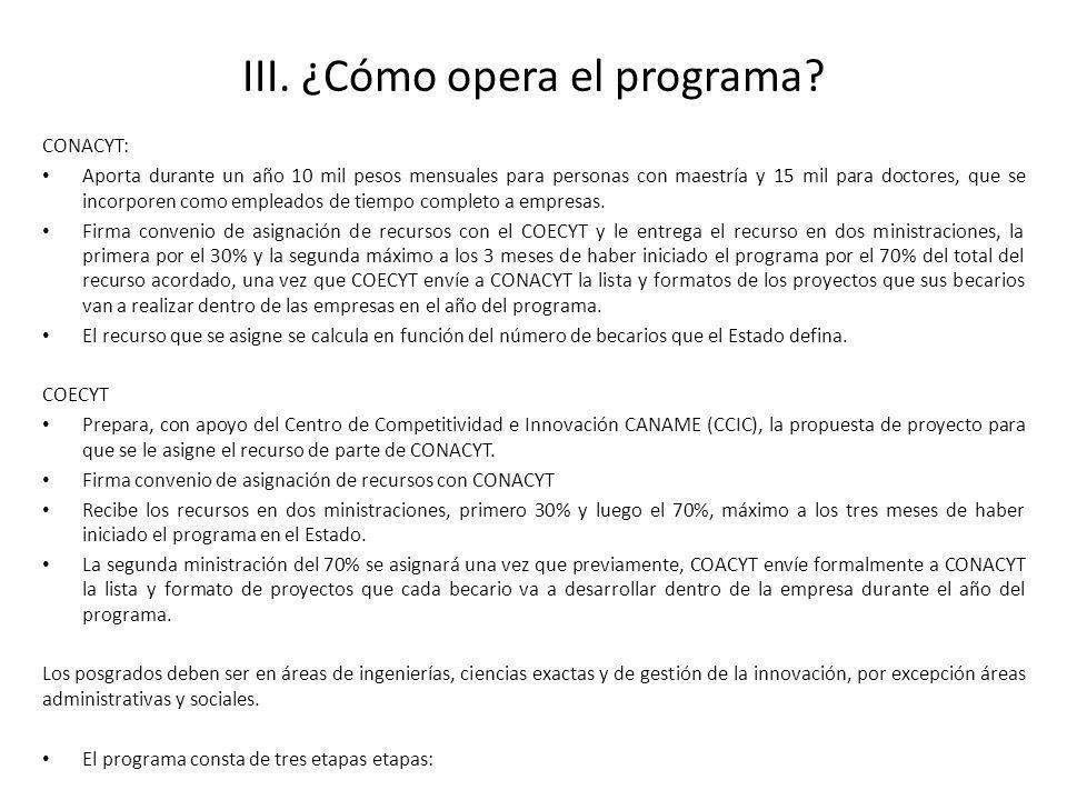 III. ¿Cómo opera el programa