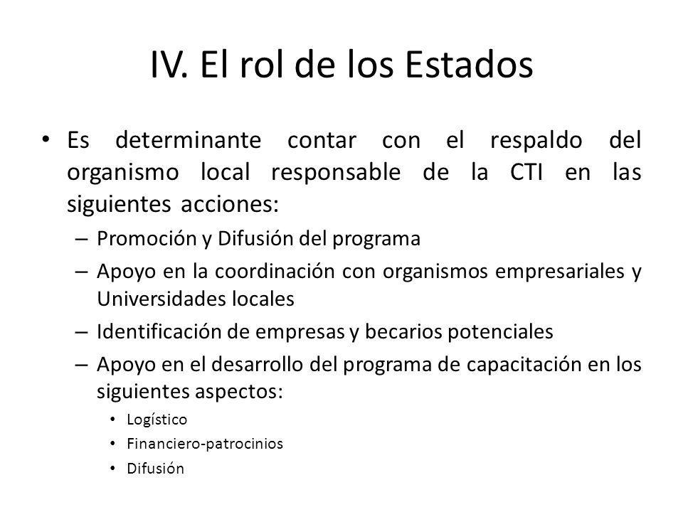 IV. El rol de los Estados Es determinante contar con el respaldo del organismo local responsable de la CTI en las siguientes acciones: