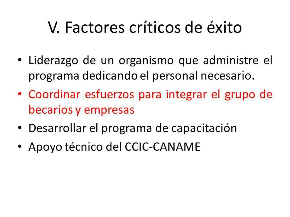 V. Factores críticos de éxito