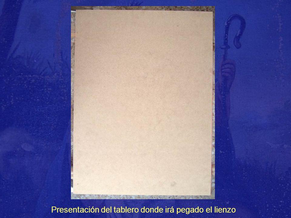 Presentación del tablero donde irá pegado el lienzo
