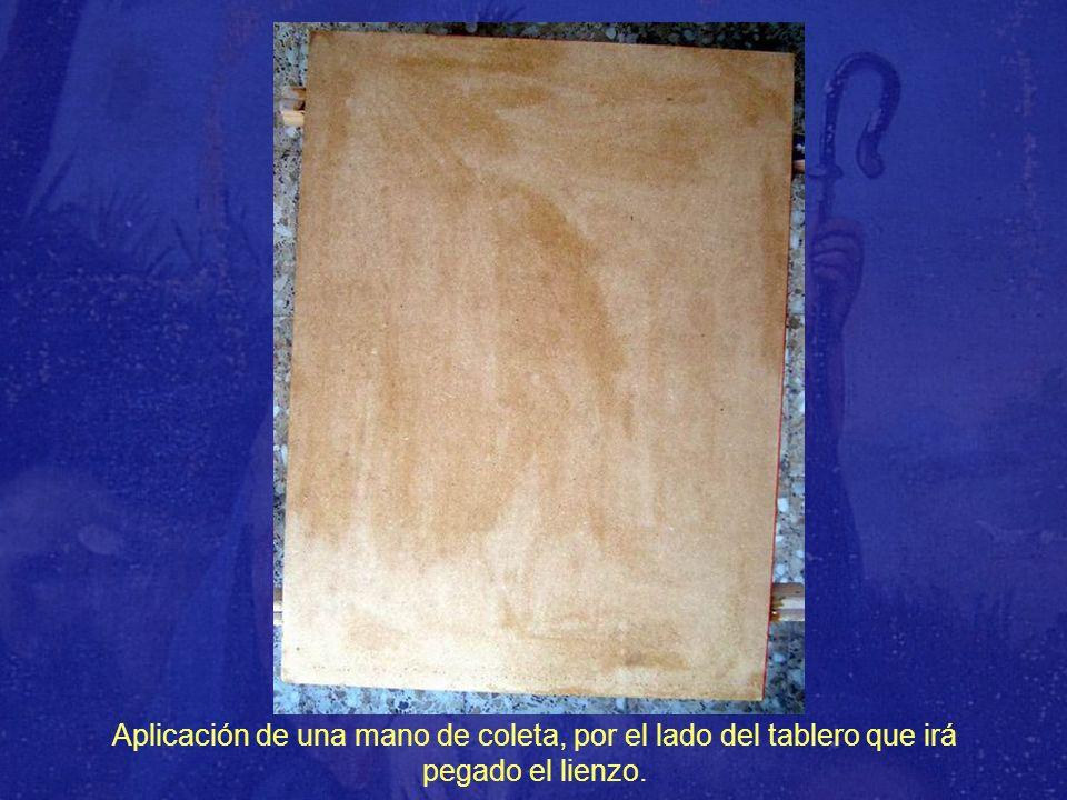Aplicación de una mano de coleta, por el lado del tablero que irá pegado el lienzo.