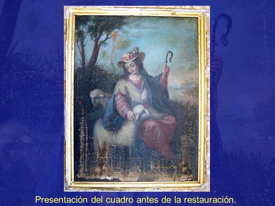 Presentación del cuadro antes de la restauración.
