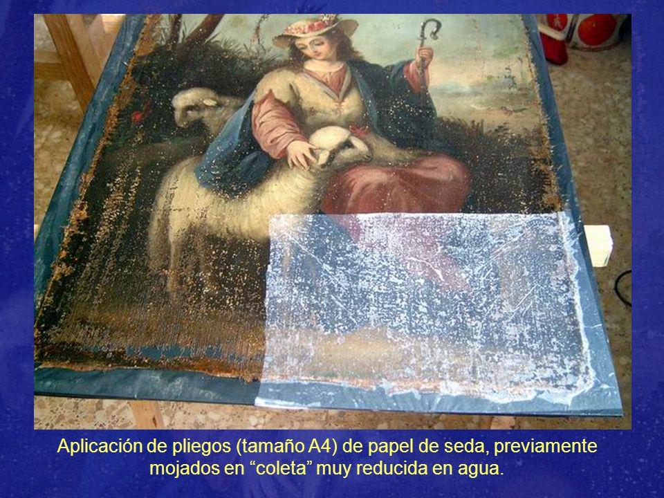 Aplicación de pliegos (tamaño A4) de papel de seda, previamente mojados en coleta muy reducida en agua.
