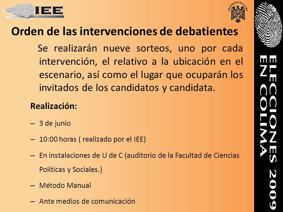 Orden de las intervenciones de debatientes