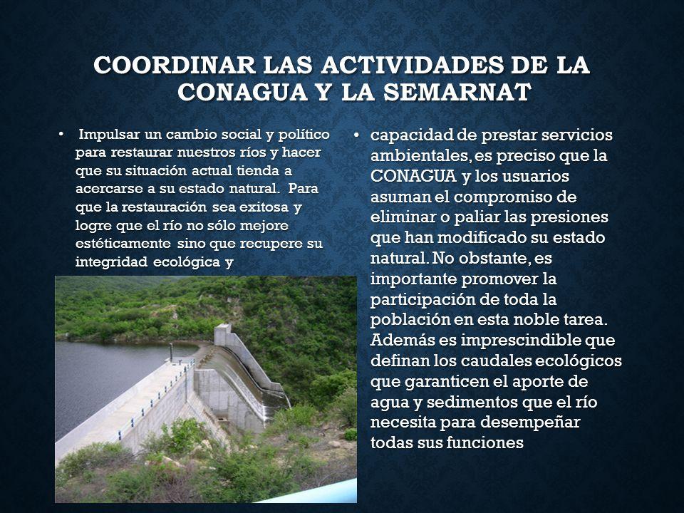 Coordinar las actividades de la CONAGUA y la SEMARNAT
