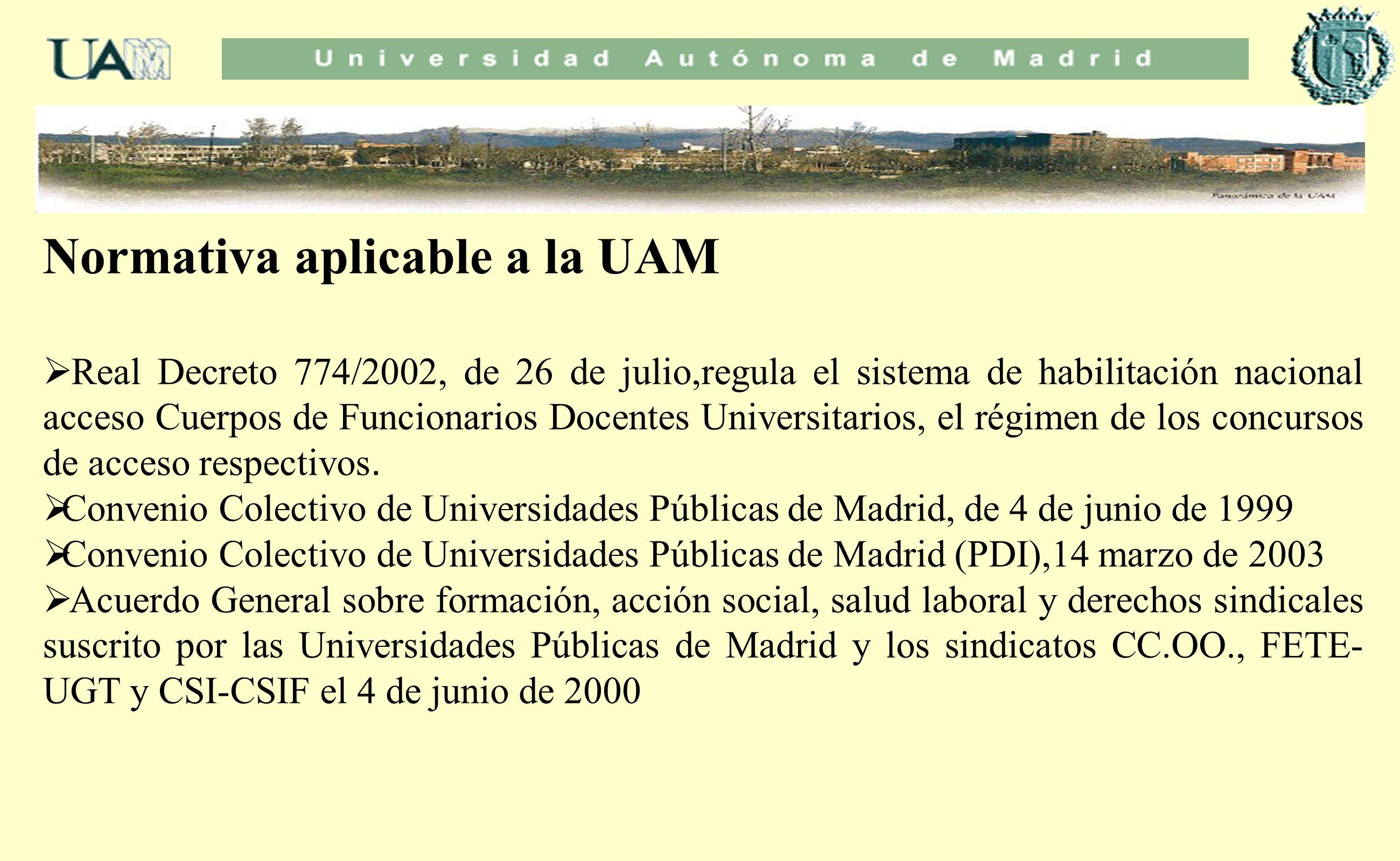 Normativa aplicable a la UAM