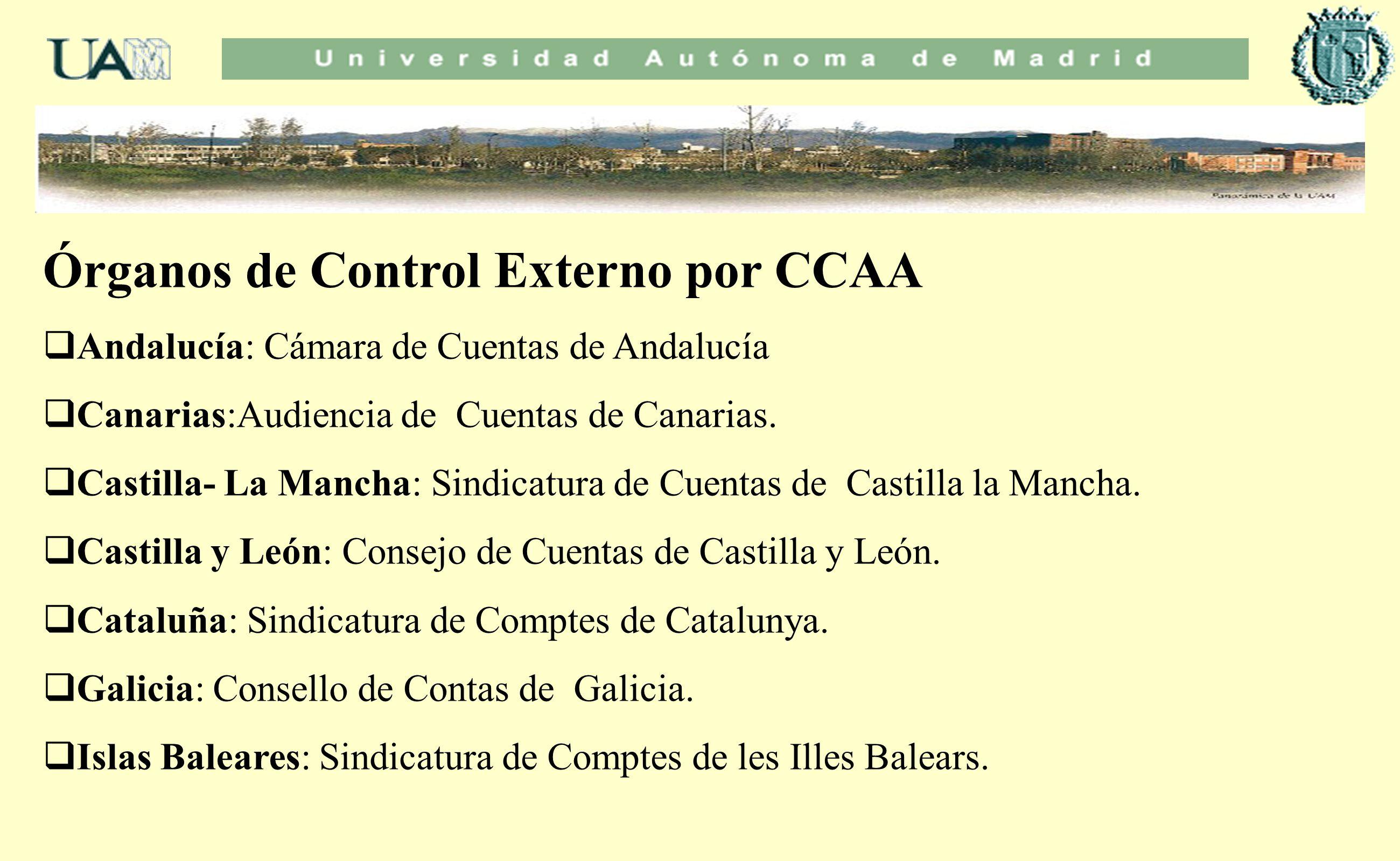Órganos de Control Externo por CCAA