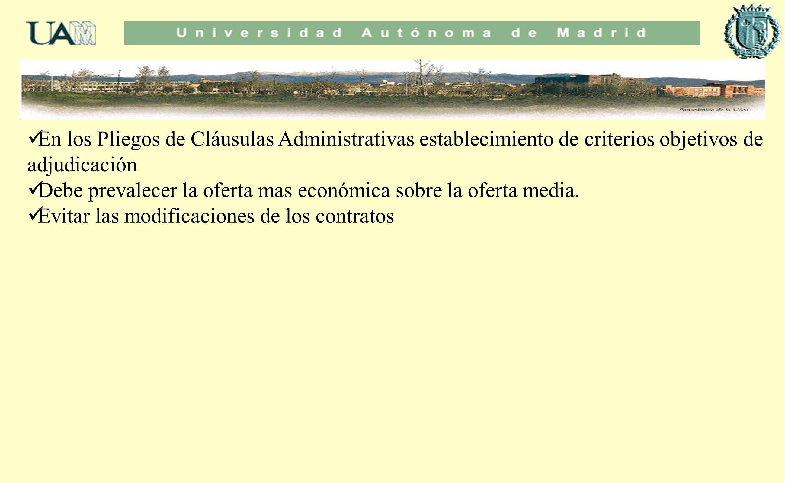 En los Pliegos de Cláusulas Administrativas establecimiento de criterios objetivos de adjudicación